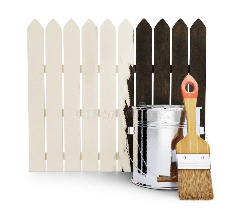 Helft-geschilderde houten omheining stock illustratie