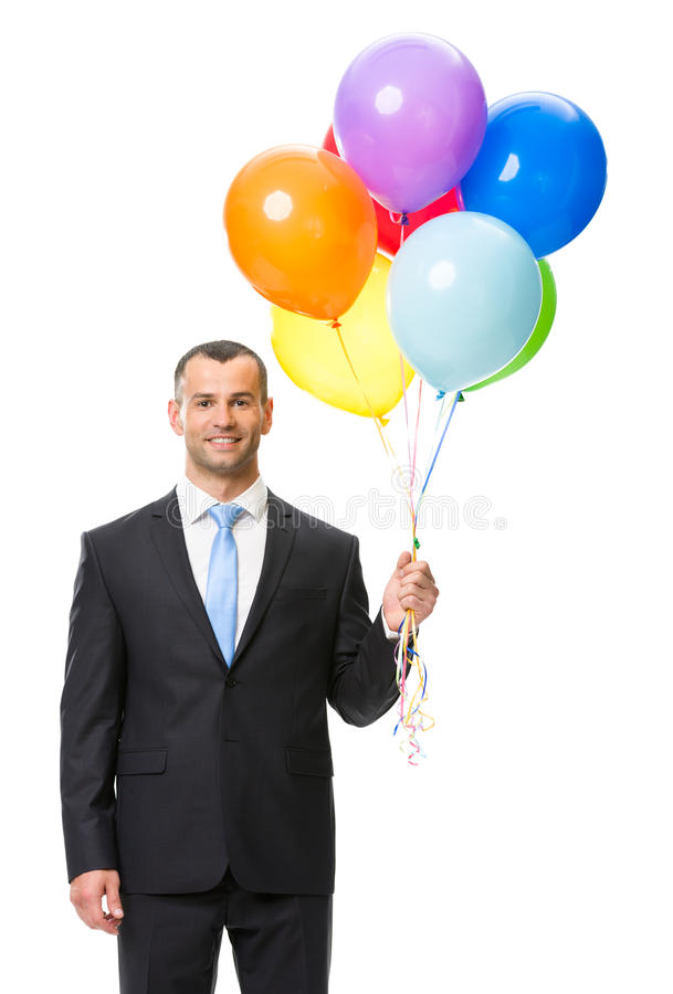 Helft-lengte portret van zakenman met ballons stock afbeeldingen