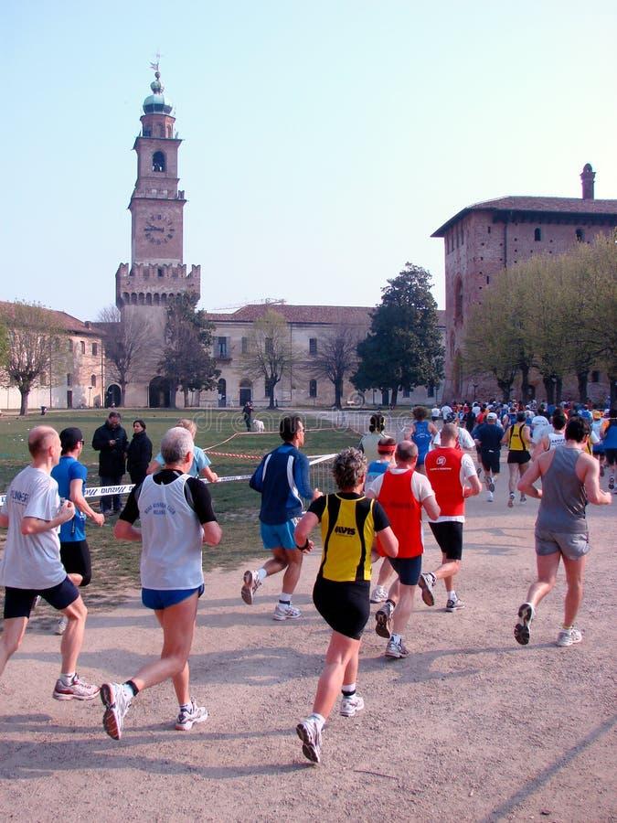 Helft-marathon ras in Vigevano, Italië stock fotografie