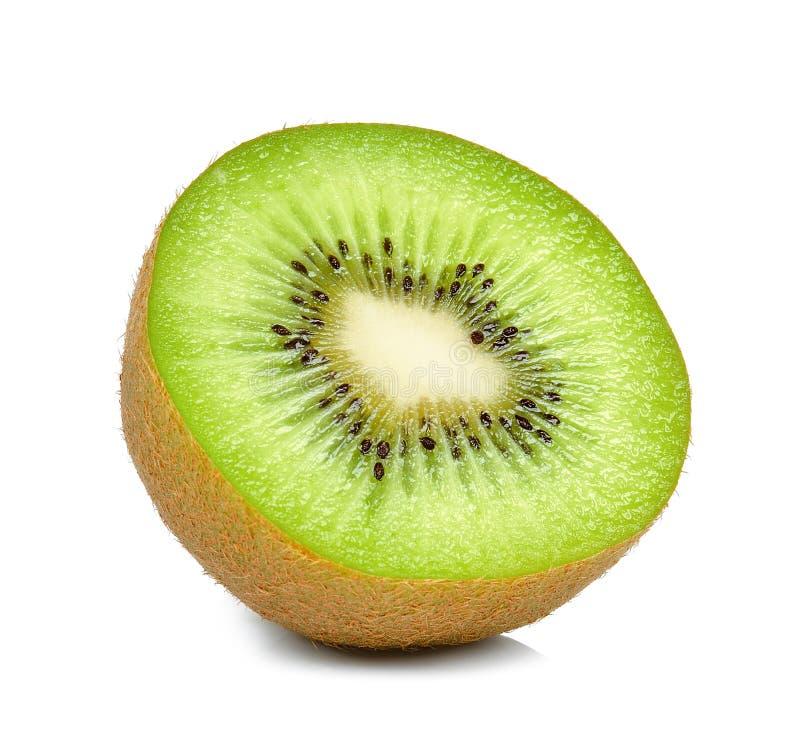 Helft van kiwi op witte achtergrond wordt de geïsoleerd die royalty-vrije stock foto's