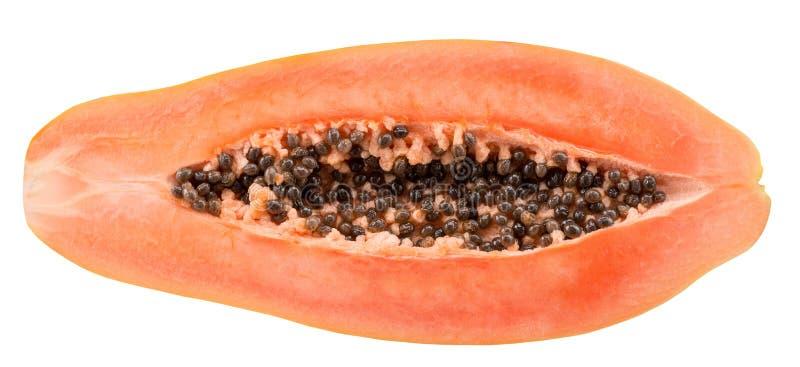 Helft van papaja op de witte achtergrond wordt de geïsoleerd die stock foto's