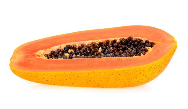 Helft van papaja op witte achtergrond wordt de geïsoleerd die royalty-vrije stock afbeeldingen