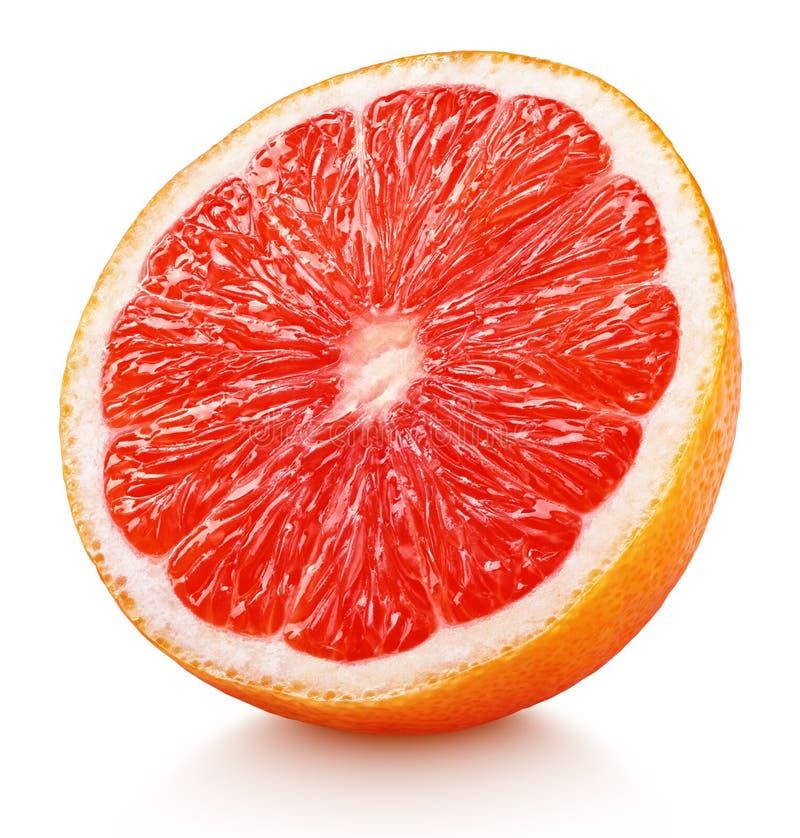 Helft van roze die grapefruitcitrusvruchten op wit wordt de geïsoleerd stock fotografie