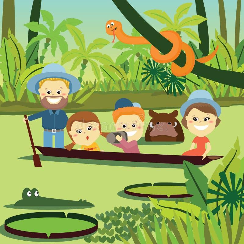 helg för fader för cykelbarnfamilj Familj på ferie i djungeln royaltyfri illustrationer