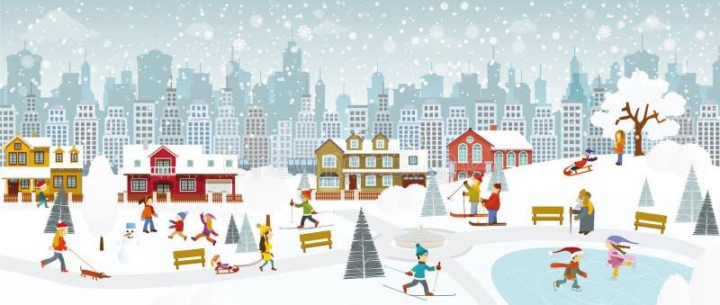 Helg i staden (vintern) stock illustrationer