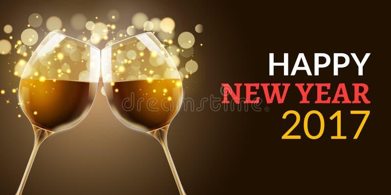 Helgdagsafton för nytt år 2017 Ferieillustration av två vinexponeringsglas Lyxig beröm för drink av det nya året Garnering för ve royaltyfri illustrationer