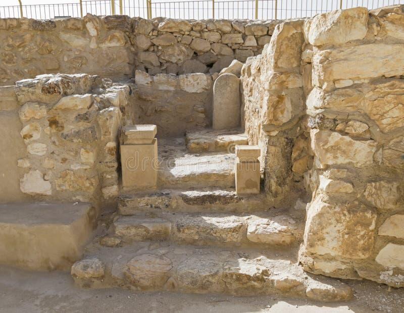 Helgedom av den Holies tillflykten i forntida israelitisk fästning på telefon Arad i Israel arkivbild