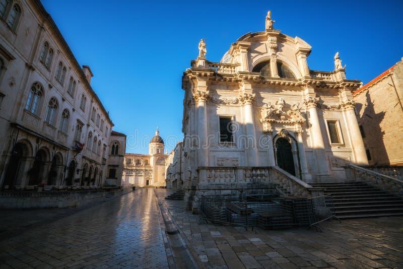 Helgon Blaise Church i Dubrovnik den gamla staden, Kroatien royaltyfria bilder