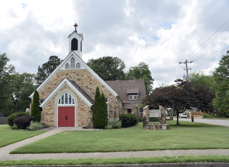 Helgon James Angelican Church Front View, Memphis, Tennessee arkivbilder