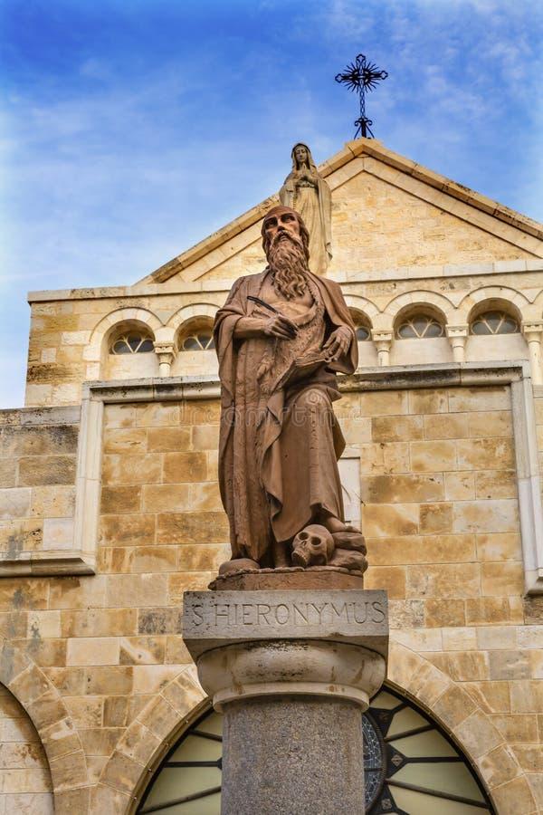 Helgon Jerome Saint Catherine Nativity Church Betlehem Palestina royaltyfria foton