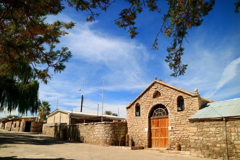 Helgon Lucas Church eller Iglesia de San Lucas i staden av Toconao, nordliga Chile royaltyfri bild
