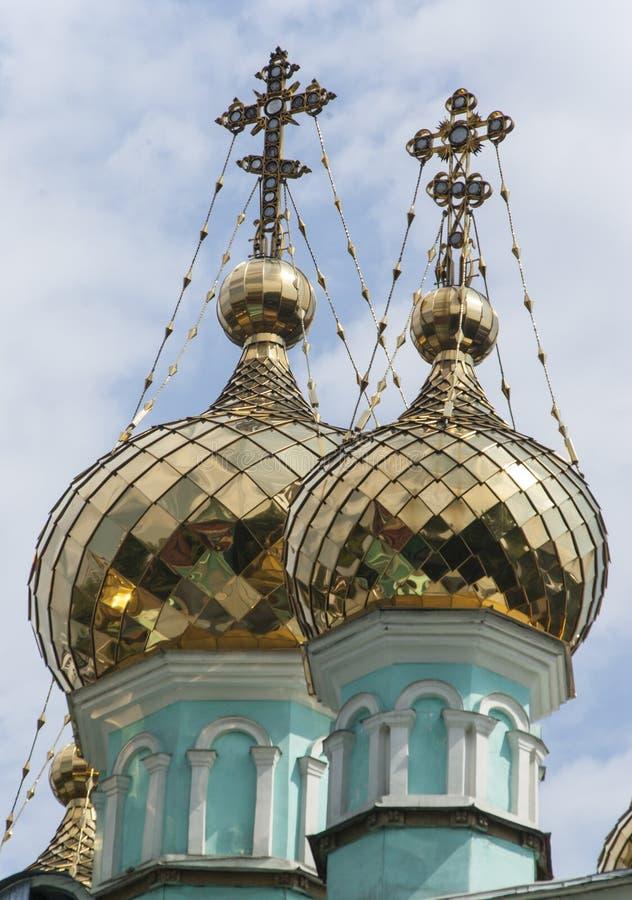 Helgon Nicholas Church i Almaty, Kasakhstan arkivfoton
