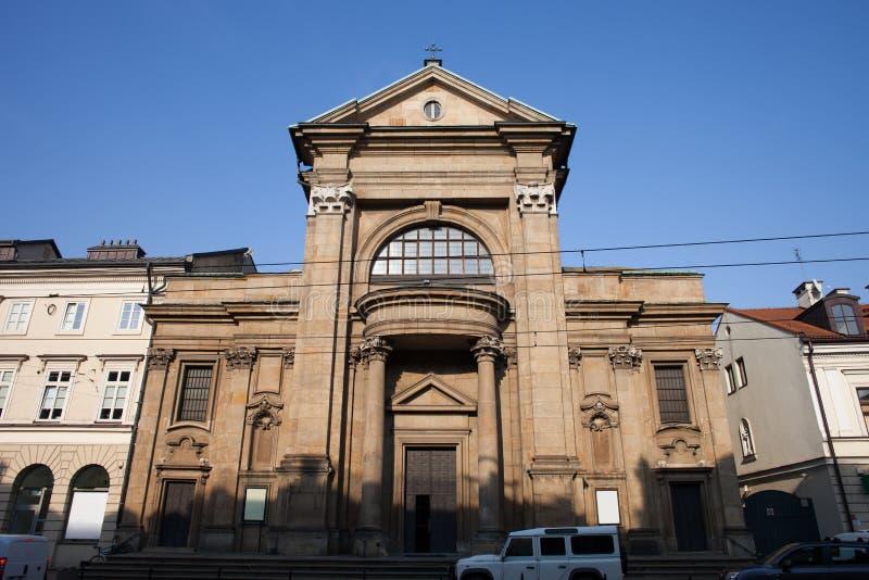 Helgon Paul Conversion Church i Krakow royaltyfri fotografi