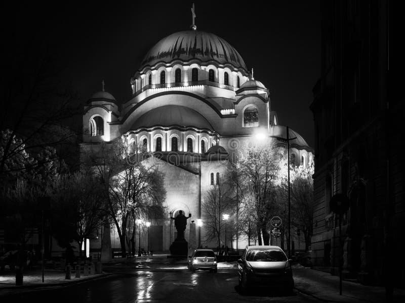 Helgon Sava i Belgrade i svartvitt arkivfoto