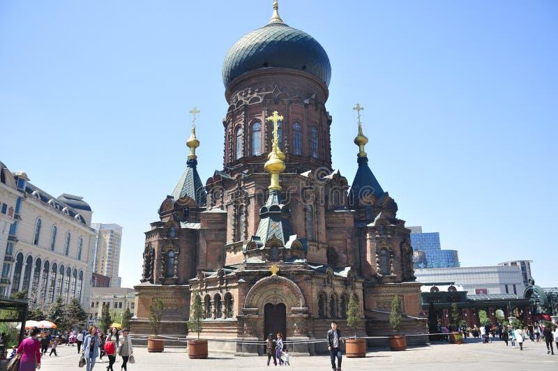 Helgon Sophia Church Harbin China arkivbilder