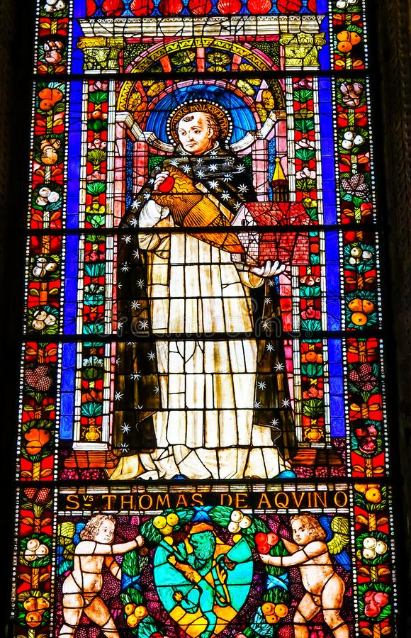 Helgon Thomas Aquinas Stained Glass Santa Maria Novella Florence Italy royaltyfri bild