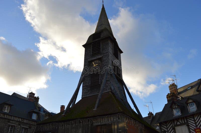 HelgonCatherines katolsk kyrka, Honfleur, Frankrike arkivbilder