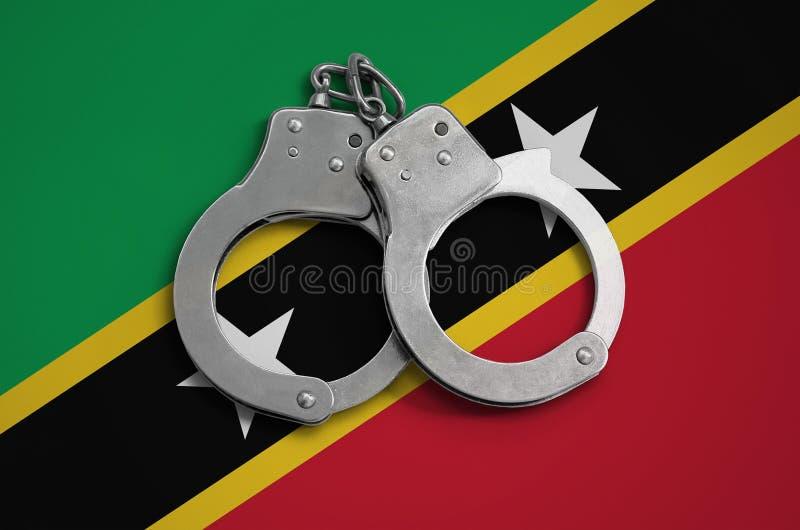Helgonet Kitts och Nevis sjunker och övervakar handbojor Begreppet av efterlevnad av lagen i landet och skydd från brott vektor illustrationer