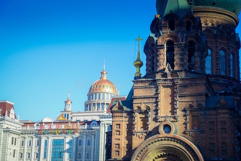 Helgonet Sophia Cathedral, är en tidigare rysk ortodox kyrka som lokaliseras i det centrala området av Daoliin i den Harbin stade royaltyfri foto