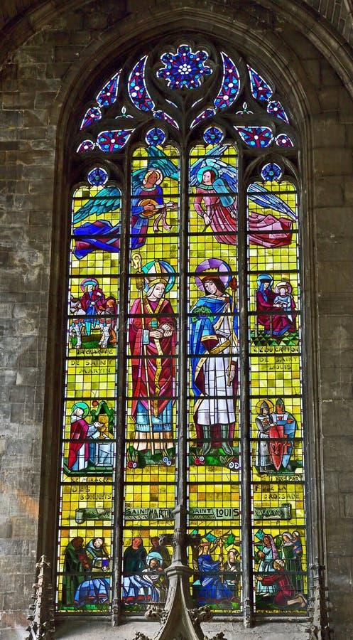 HelgonMaurice kyrka i historisk mitt av Lille royaltyfri foto
