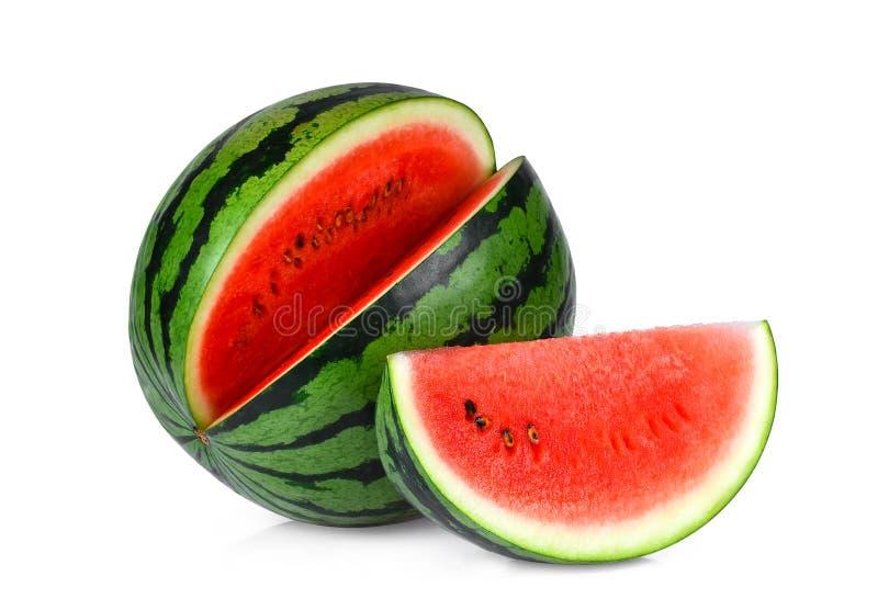 Helhets- och skivavattenmelon som isoleras på vit arkivbild