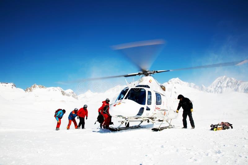 heli滑雪 库存图片
