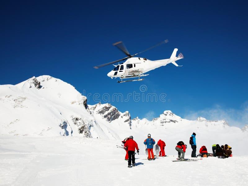 Heli-skiô stock fotografie