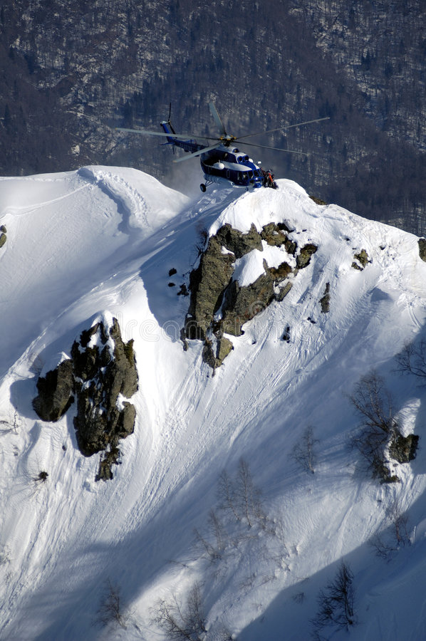 Heli ski in Krasnaya Polyana. stock images