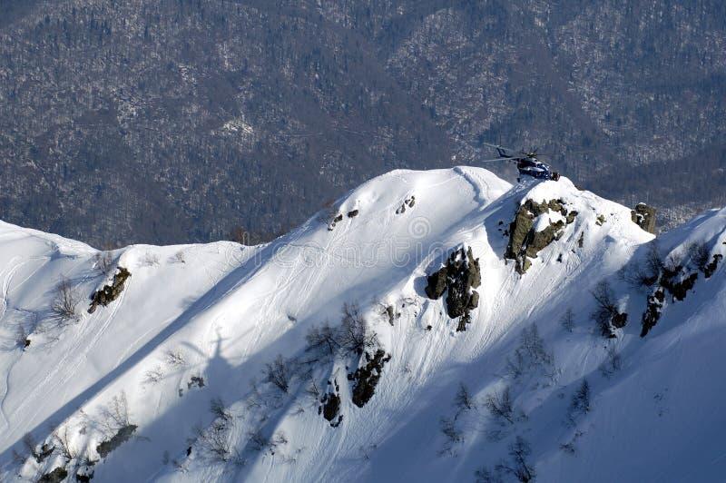 Heli Ski in Krasnaya Polyana. lizenzfreie stockfotografie