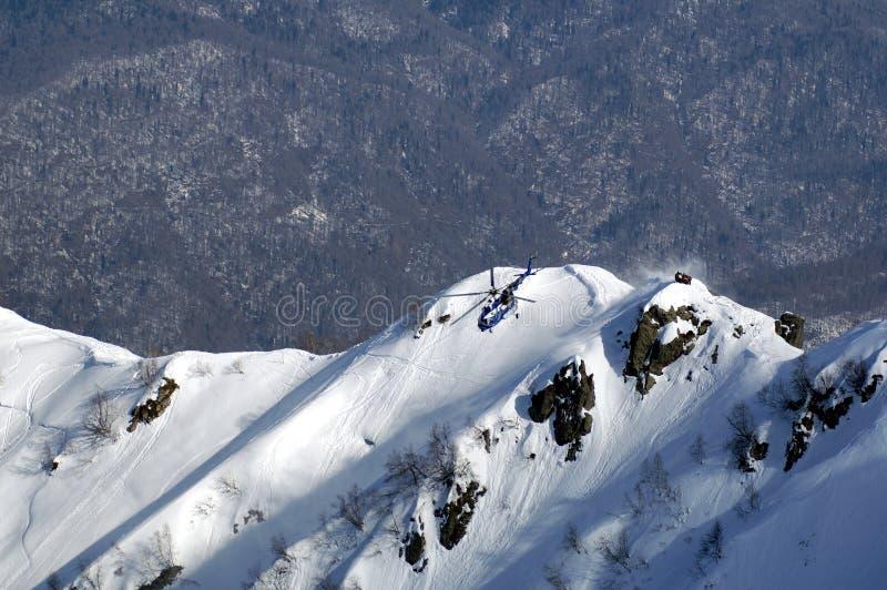 Heli Ski in Krasnaya Polyana. stockfoto