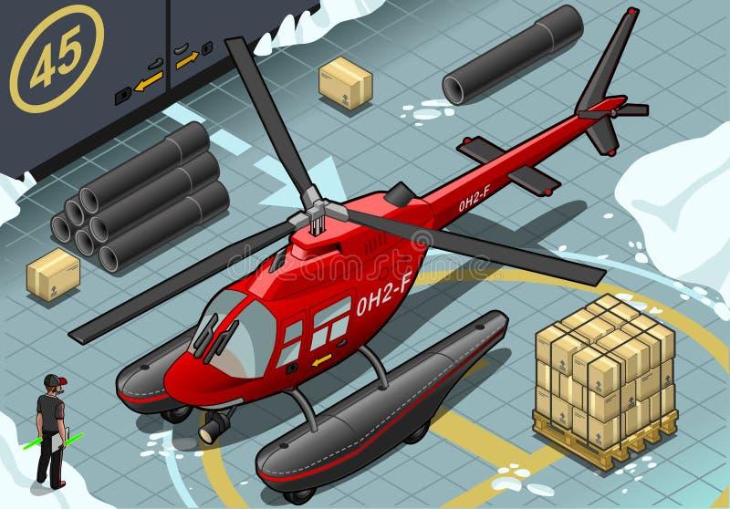 Helicóptero ártico isométrico de la emergencia en Front View ilustración del vector