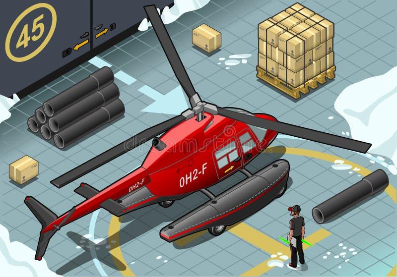 Helicóptero ártico isométrico de la emergencia en vista posterior ilustración del vector