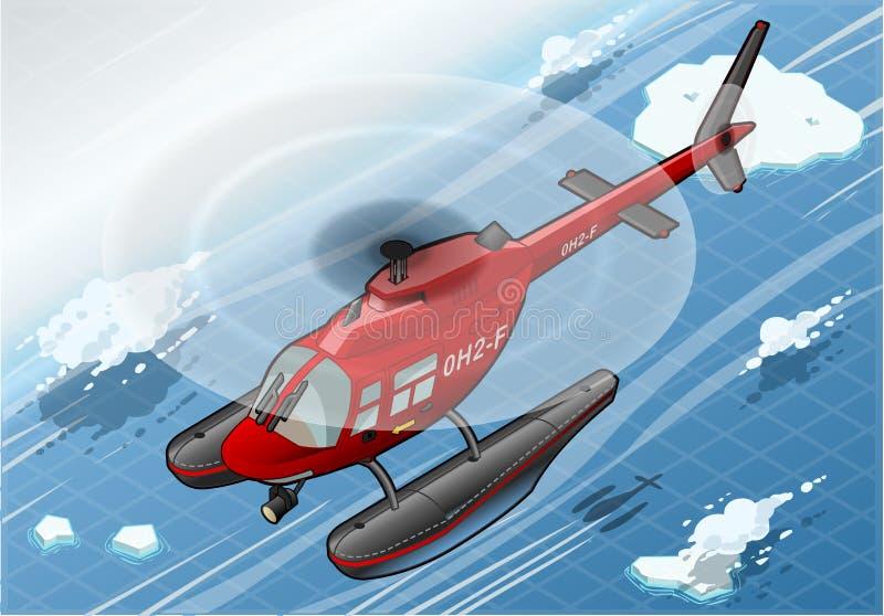 Helicóptero ártico isométrico de la emergencia en vuelo en Front View stock de ilustración