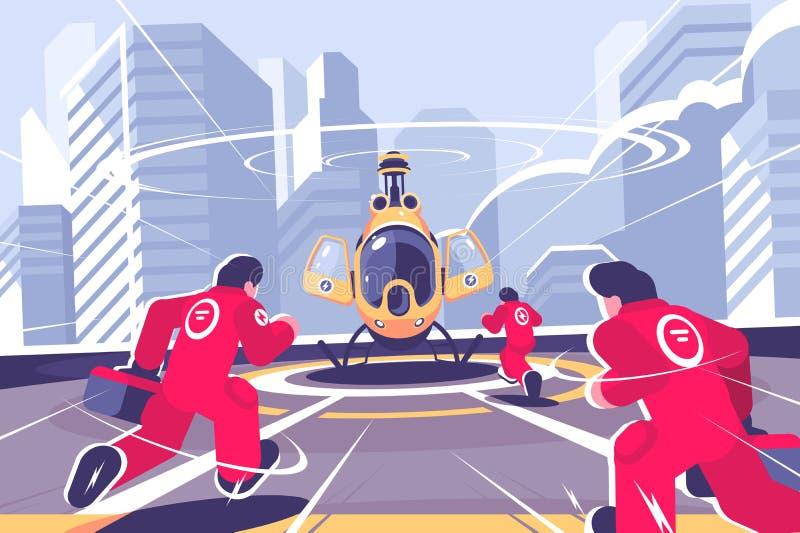 Helicóptero amarillo del rescate y cartel plano del equipo stock de ilustración