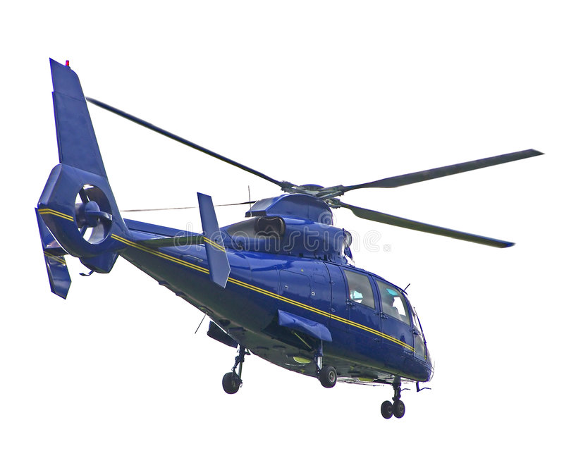 Helicóptero azul isolado fotos de stock royalty free