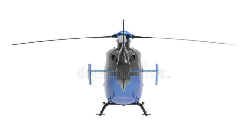 Helicóptero azul isolado no fundo branco ilustração 3D ilustração royalty free