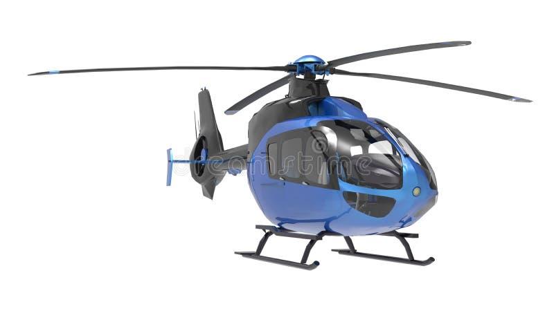 Helicóptero azul isolado no fundo branco ilustração 3D ilustração stock