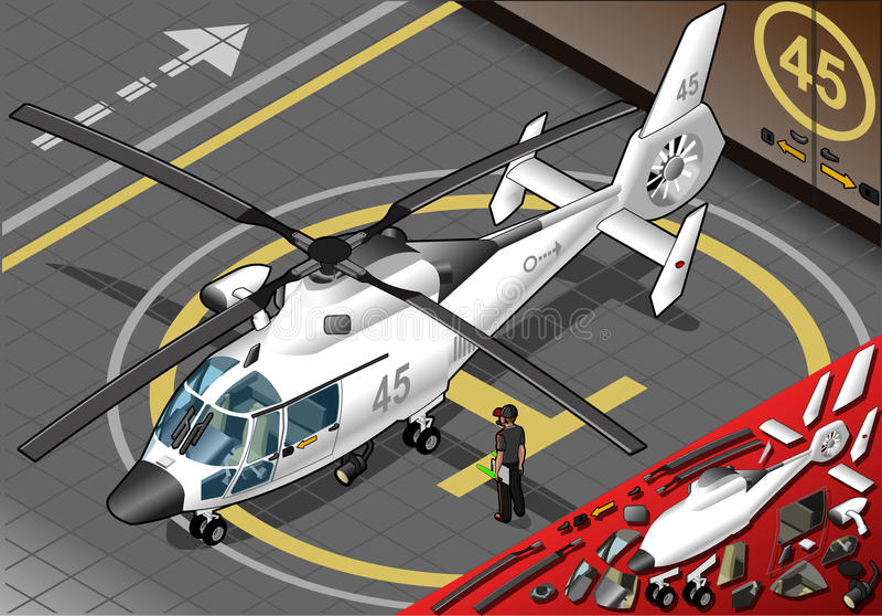 Helicóptero blanco isométrico aterrizado en Front View ilustración del vector