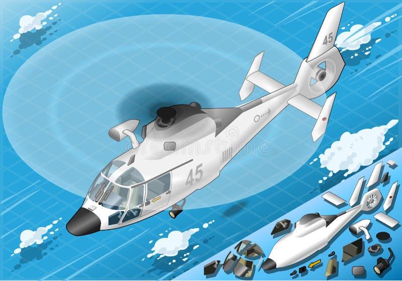 Helicóptero blanco isométrico en vuelo en Front View ilustración del vector