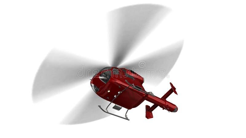 Helicóptero civil rojo aislado en vuelo en el fondo blanco stock de ilustración