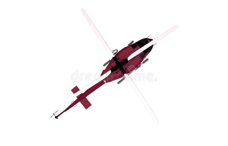 Helicóptero da vista superior isolado ilustração stock