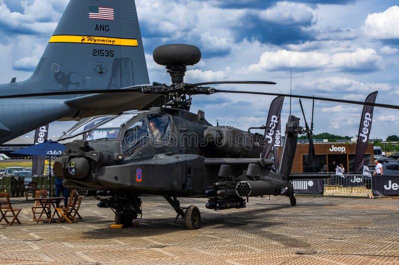 Helicóptero de ataque de Apache en el salón aeronáutico 2018 de Farnborough imagen de archivo libre de regalías