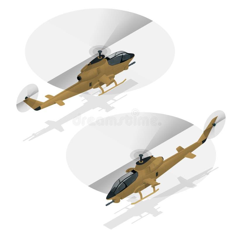 Helicóptero de ataque isométrico do único-motor Transporte aéreo militar ilustração royalty free