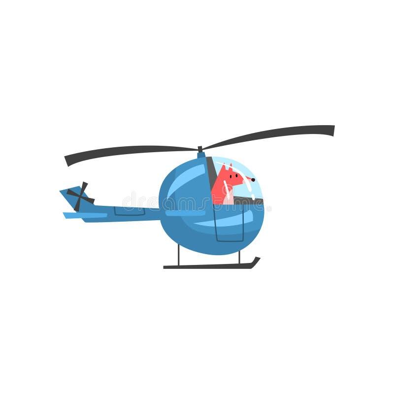 Helicóptero de pilotaje del Fox, carácter animal salvaje usando el ejemplo del vector del vehículo libre illustration