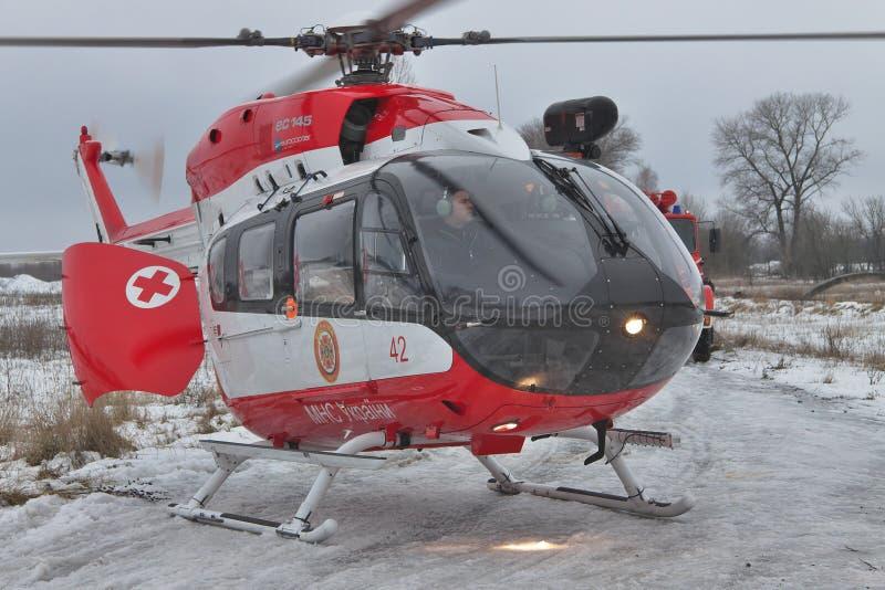 Helicóptero del rescate de Eurocopter EC145 fotografía de archivo