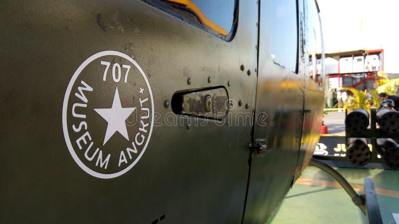 Helicóptero do angkut do museu imagens de stock