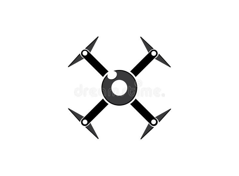 Helicóptero do quadrilátero do zangão com a câmara digital na mosca do céu para a fiscalização Close-up de zang?es do rotor zang? ilustração royalty free