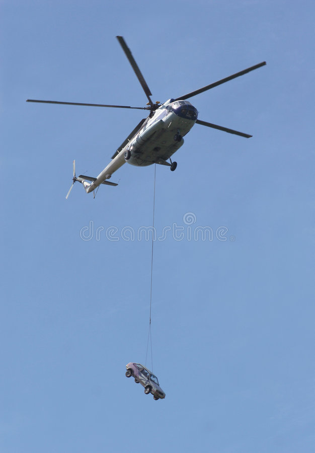 Helicóptero e carro foto de stock