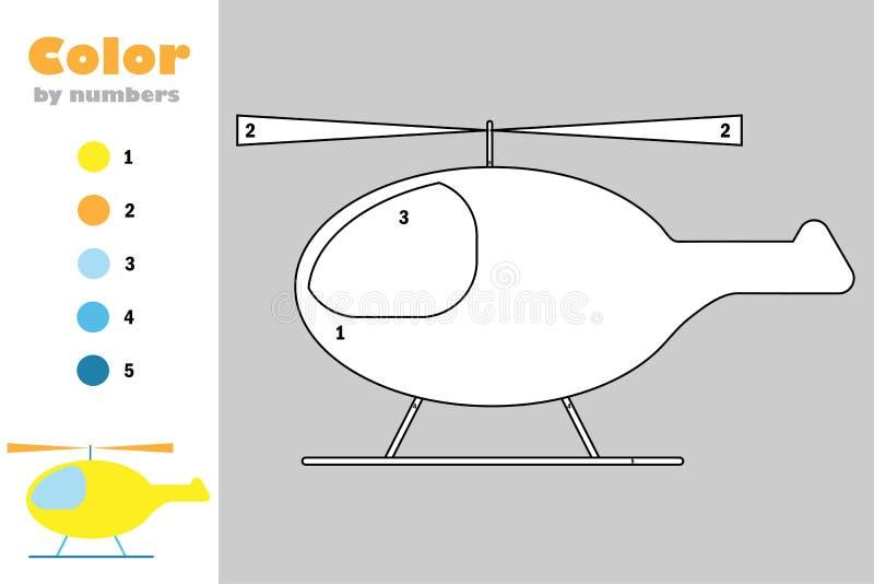 Helicóptero en el estilo de la historieta, color por el número, juego del papel de la educación para el desarrollo de niños, pági libre illustration