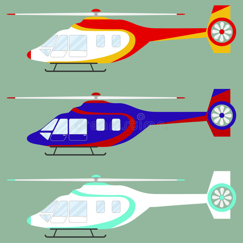 Helicóptero, grupo de helicópteros ilustração royalty free
